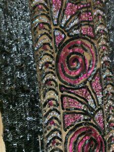 antique dress trim sequin lace mesh net pink floral Art Deco black party part