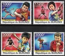 Jugadores de tenis de mesa (sello conjunto deportivo campeones mundiales) (2011 Burundi)