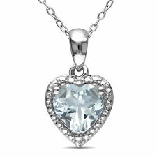 Amour Sterling Silver Heart-shaped Gemstone Necklace