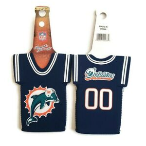 Lot of 2 NFL Miami Dolphins Beer Jersey Bottle Coolers Neoprene Blue 2 Sided