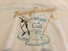 "Tommy Bahama Silk Embroidered Golf Hawaiian Shirt ""The King of Cool"" Men's XL"