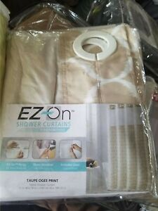 NEW Hookless ez on Ogee Tan taupe print Shower Curtain with Peva Liner