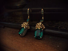 Vintage Jewellery Emerald Green Crystal & Seed Beads Drop Earrings.