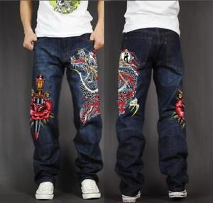 Men's Skate Baggy Loose Rap Hip Hop Jeans Denim Print Trousers Long Pants VF34