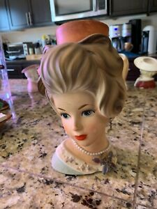 Rare Vintage Lady Head Vase Planter