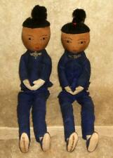 Pair of Early Ada Lum Chinese Cloth Dolls Signed on Foot