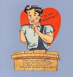 Vintage Valentine Card LIL ABNER 1940s Ain't Bashful Al Capp Valentine's Day