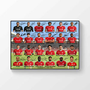 Liverpool FC 2020 2021 Signed Print Photo Poster Squad A4