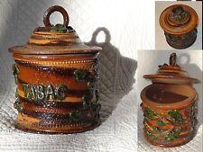 Pot a tabac feuilles relief barbotine tobacco jar pottery terracota majolica
