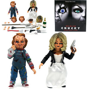 """NECA BRIDE OF CHUCKY ULTIMATE CHUCKY & TIFFANY 4"""" SCALE ACTION FIGURE 2 PACK SET"""