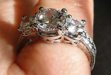 Edwardian Replica CZ Ring Encrusted with CZs!  925 Sterling Silver