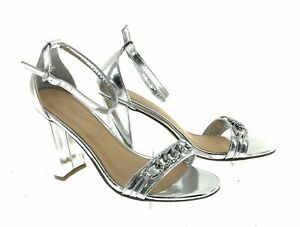 Lov Mark Womens Sliver Open Toe Heels Size 8.5
