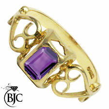 9 Carat Solitaire Amethyst Yellow Gold Fine Rings