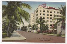 Gulf Stream Hotel Lake Worth Florida linen postcard