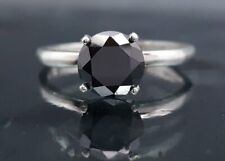 Anniversary Ring Black Diamond Round Solitaire Engagement 2.59 Ct Certified AAA