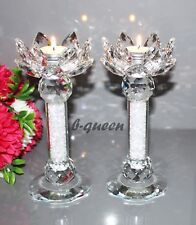 2 CRYSTAL CUT LOTUS FLOWER  SWAROVSKIELEMENTS T-LIGHT CANDLE HOLDER X-MAS GIFT