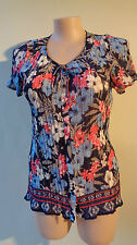Millers New border print size 14 crinkle blue floral top short sleeves NWT