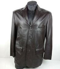 Alfani Men's POSITANO Leather Blazer Size 42R Brown 3 Button Sport-Coat Jacket
