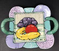 Juozas & Rasa Saldaitis Signed Ceramic Pottery Handled Bowl Tray w/ Fruit