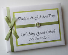 PERSONALISED WEDDING GUEST BOOK WITH DIAMONTE BUCKLE (SAGE) - ANY COLOUR
