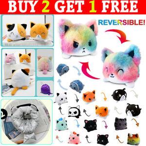 Double-Sided Flip Reversible Cat Dog Animal Plush Toys Funny Animals Doll Gift