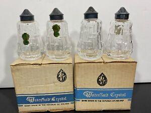 Vintage 4pc WATERFORD Ireland Crystal Salt & Pepper Shakers Sets