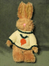 Vtg 1996 Berkeley Designs Jointed  Plush Bunny Rabbit Knit Sweater w/ Carrot 11""