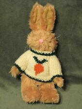 "Vtg 1996 Berkeley Designs Jointed  Plush Bunny Rabbit Knit Sweater w/ Carrot 11"""