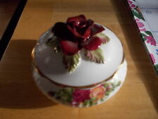 Vintage ROYAL ALBERT Old Country Roses - Small Round Trinket Box w/Rose