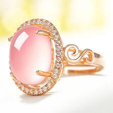 EG_ Women Luxury Oval Rose Quartz Rhinestone Open Finger Ring Jewelry Gift Exqui