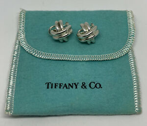 """Vintage 1990 Tiffany 925 Sterling Silver Signature Crossover """"X"""" Omega Earrings"""