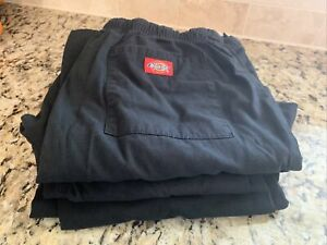 Lot of 3 - Dickies Drawstring Cargo Scrub Pants - Medium - Black