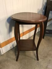 Antique Vintage 1920's English Oak Side Lamp Table with Under-Shelf