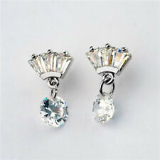 GORGEOUS 18K WHITE GOLD PLATED CUBIC ZIRCONIA CLEAR DANGLE EARRINGS
