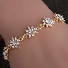 Shiny CZ Crystal Flower Lady's Cuff Bracelet Bangle Gold Plated Chain Adjustable