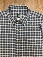 VTG The North Face Heavy Mens Large Short Sleeve Blue Plaid Button Up Shirt EUC