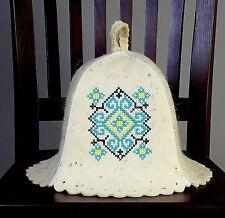 Felt Hat Russian Sauna Banya Wool Vyshyvanka turquoise 4th of July Sale