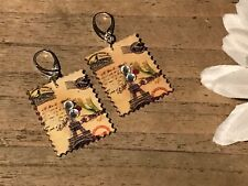 Handmade Wood Jewelry, Stamp Dangling Earrings w/Crystals