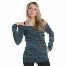 Innocent Lifestyle Hena Top Ladies Turquoise Goth Emo Punk Girls Casual Knitwear