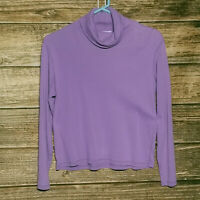 Ann Taylor LOFT Medium Lavender Turtleneck Long Sleeve Purple Lilac M Cotton