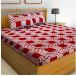 Polycotton Dauble Bed Abstract Printed Bed sheet  With Pillow Covers Handmade