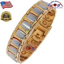 EXCELLENT MEN COPPER ALLOY MAGNETIC BRACELET GOLD gp & sp ARTHRITIS X11_GS
