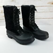 HUNTER Womens Genuine Shearling Waterproof Laceup Boots Black Size 8 NEW $295