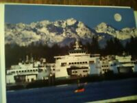 BEAUTIFUL GREETING CARD WASHINGTON STATE FERRIES OLYMPIC MOUNTAINS WINSLOW  WA