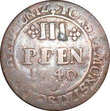 German States Munster 3 III Pfennig 1740 KM#170 Clemens August (4400)