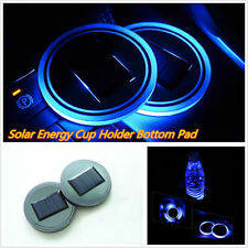 Solar Cup Holder Bottom Pad LED Light Cover Trim Atmosphere Lamp For All car!
