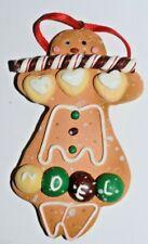 Estate Christmas Ornament Gingerbread Girl says Noel on bottom of Dress