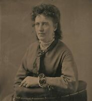 Old Vintage Antique Tintype Photo Lady Woman w/ Pearl Necklace & Cross Earrings