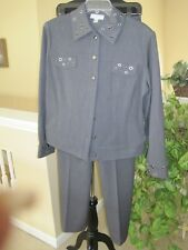 ST JOHN SPORT GRAY PANTSUIT WITH SILVER GROMMETS, SIZE S