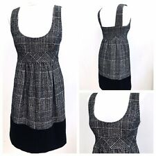 Zara Ladies Black Check Wool Blend  Smock Pinafore Tunic Dress Work Office Small